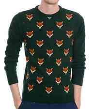 Mens Indie Hipster 70s Retro Vintage Fox Head Jumper indie retro Sweater Top