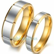 New Stainless Steel Gold-tone Plated Men's Women's Rings Wedding Promise Bands