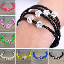 Leather Wrap Wristband Cuff Punk Magnetic Crystal Buckle Charm Bracelet Bangle