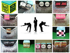 Personalised x 2 Pool Snooker cue chalk  OR Steel holder + chalk  gift - novelty