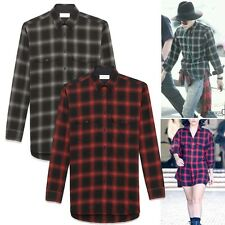 New Plaid Check Flannel Button Down Shirt G-Dragon Celebrity Red Gray