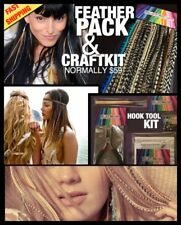 Real Feather Hair Extension Kit CraftKit w Tools Pliers Beads w/ $35 Feather Pck