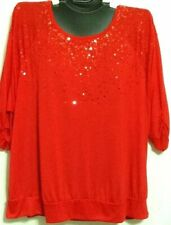 Project S & F Plus Size Knit Top Christmas Holiday Party Black Red Sequins New