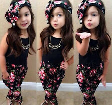 Girls Black Sleeveless Top+Pants+Floral Printing Head Scarf  3-Pcs Suit Outfits