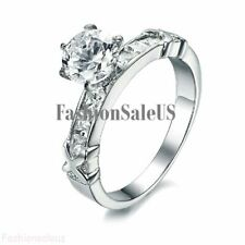 Fashion Stainless Steel Ring w/ Cubic Zirconia Women's Engagement Band New