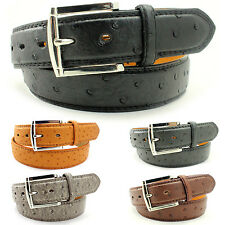 Mens Black Brown Leather Belt Strap Dress Casual Embossed Ostrich Waistband New