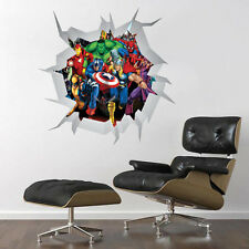 COMIC MARVEL HEROES WALL CRACK ART DECOR STICKER Decal, Mural, boys Bedroom