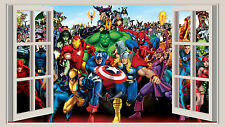 HUGE 3D WINDOW WALL ART STICKER - MARVEL HEROES  decal vinyl Wallpaper