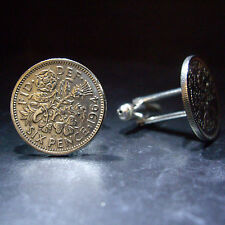 PAIR 6d SIXPENCE VALENTINES GIFT  COIN CUFFLINKS CHOOSE YOUR YEAR 1947 – 1967