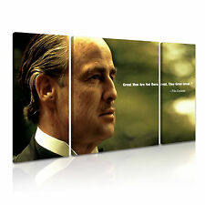 THE GOD FATHER Don Vito Corleone Quotes Movie Framed Canvas Print ~ 3 Panels ~