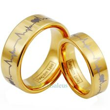 6mm/8mm Gold Tone Plated Tungsten Laser Forever Love Ring w/ Men's Women's Bands