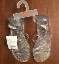 NWT Gymboree Girls Clear Sparkle Glitter Jelly Sandals Size 9-10 13-1 2-3