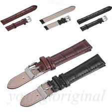 NEW High Quality Unisex Genuine Leather Black Brown Watch Strap Band Womens Mens
