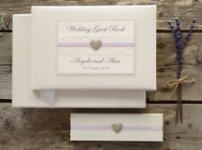 Ivory Personalised Wedding Guest Book and Pen Set. Lace and Vintage Jewel Design