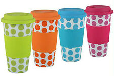 Double Walled Travel Ceramic Mug for Coffee or Tea with Silicone Lid - Polka Dot