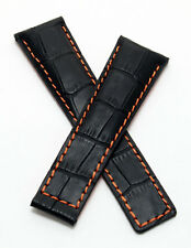 22 mm black alligator style watch band to fit Heuer Grand Carrera models listed
