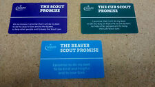 SCOUT PROMISE CARD.    Beaver , Cub and Scout Free Delivery.