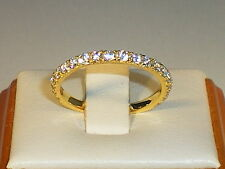 Ladies 925 Sterling Silver & 18 Carat Yellow Gold White Sapphire Eternity Ring