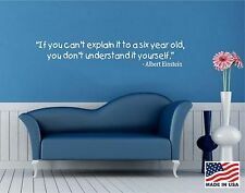 Vinyl Wall Decal Art Saying Quote Decor - If you can't explain  Albert Einstein