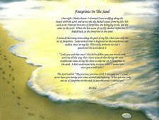 Footprints in the Sand Inspirational Poem Print Birthday Memorial Anniversary