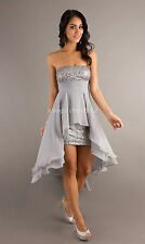 Silver Gray Wedding Bridesmaid Evening Party Cocktail Prom Dress Stock Size:6-16