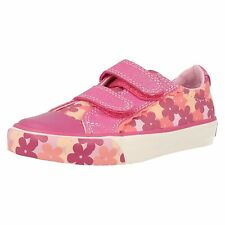 Girls Clarks Gracie Mae Inf Hot Pink Canvas Strap Doodles F & G Fitting