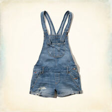 Hollister Women Overalls Shorts Blue Denim DESTROYED MEDIUM WASH DISTRESS S M L