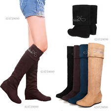 Fashion Women's Wedge Mid Heel Boots Over Knee High Shoes AU All Sz Y209