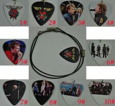 Rock Band Bon Jovi Guitar Pick Necklace , Tibetan Silver Pendant Leather Cord