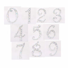 2 x Self Adhesive Stick on AB Clear Rhinestone Numbers Gems