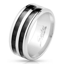Stainless Steel Double Black Carbon Fiber Inlay 9mm Wide Men's Ring Wedding Band
