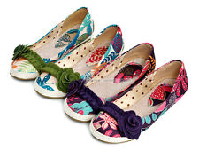 Womens Ladies Comfort Flats Low Heels Classic Pumps Casual Flower Shoes AU Size