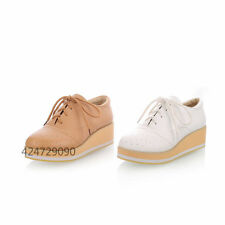 Womens Ladies Wedge Platform Sneaker Miss Students Shoes Lace Up Size Strappy