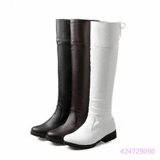 Womens Ladies Low Heel Lace Up Round Head Knee High Boots Shoes US Size Y1182