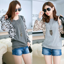 Womens Lady Long Sleeve Batwing Top Dolman Lace Loose T-Shirt Blouse Tops UB2