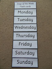 Simple Days of the week Flash Cards -Year One /KS1 Educational Learning Resource