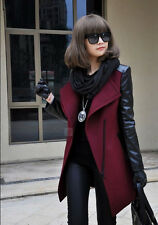 Womens Lager Lapel Wool Blend Synthetic Leather Sleeves Jacket Coat Parka Trench