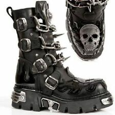 NEW ROCK Men's Black ALL Leather Biker Boots, Chains and Spikes feature M727 S1