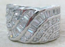 925 STERLING SILVER solid HEAVY cz  Thick band Ring size P R Girl Women