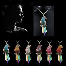 Newly Fashion Jewelry Crystal Parrot Pendant Necklace Sweater Long Chain Wedding
