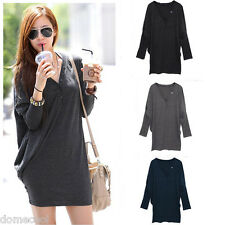 Women's T-Shirt Batwing Long Sleeve V-neck Loose Button Solid Casual Blouse Tops