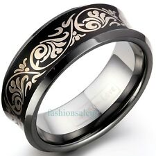 8mm Concave Black Laser Etched Tungsten Carbide Men's Women's Ring Band Black