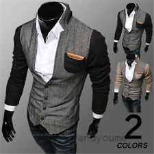 Men's Slim Fit Stylish Casual Button Suit Business Blazers Coat Jackets 2 color