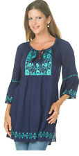 Krista Lee Journey Navy Blue/Turquoise Embroidered Beaded Tunic Top Blouse