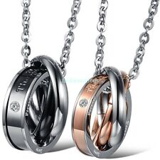 """""""The only eternal love"""" Stainless Steel Three Rings Pendant Couple's Necklaces"""