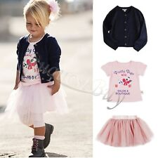 3PC Baby Girls Kids Outfit Cardigan Coat+T-shirt+Tutu Skirt Dress Outfit Clothes