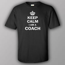 Funny T-shirt KEEP CALM I AM A COACH  trainer soccer sports gift peresent