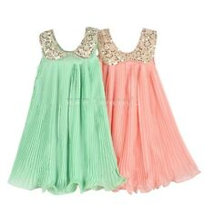 Girl Kids Baby Toddler Chiffon Sequin Pleated Party Dress Outfit Clothes 3-7Y