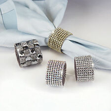 Rhinestone Wide Band Gold or Silver Napkin Rings