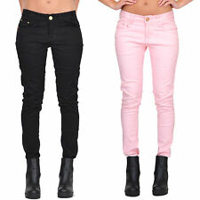 New Womens Ladies Pink Black Slim Skinny Fitted Stretch Jeans Coloured Trousers